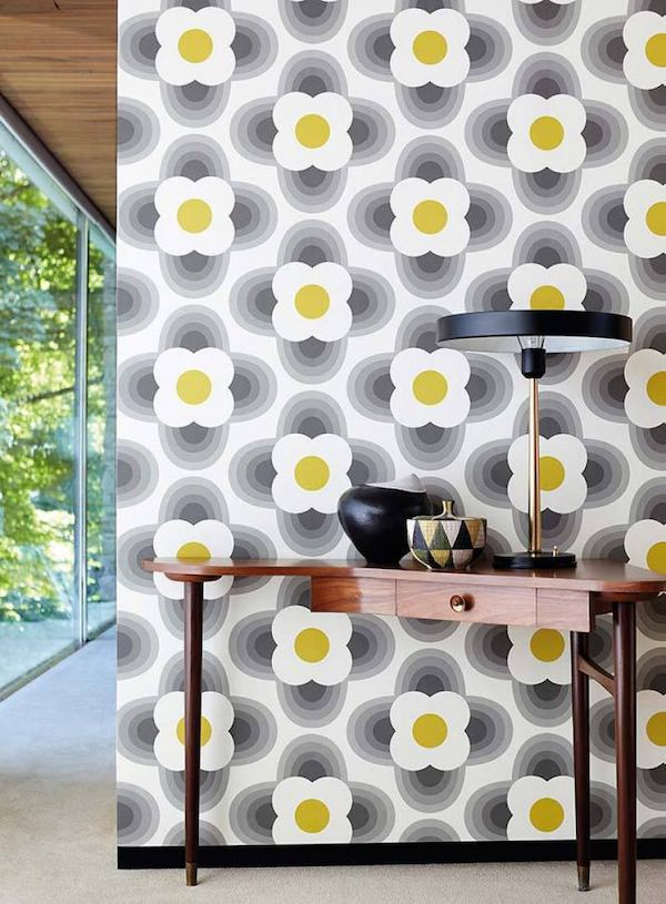 papier peint des années 70 psychedelique fleur volume dessin noir blanc jaune