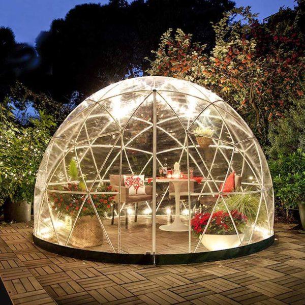garden igloo nuit petit salon déco extérieur design - clemaroundthecorner
