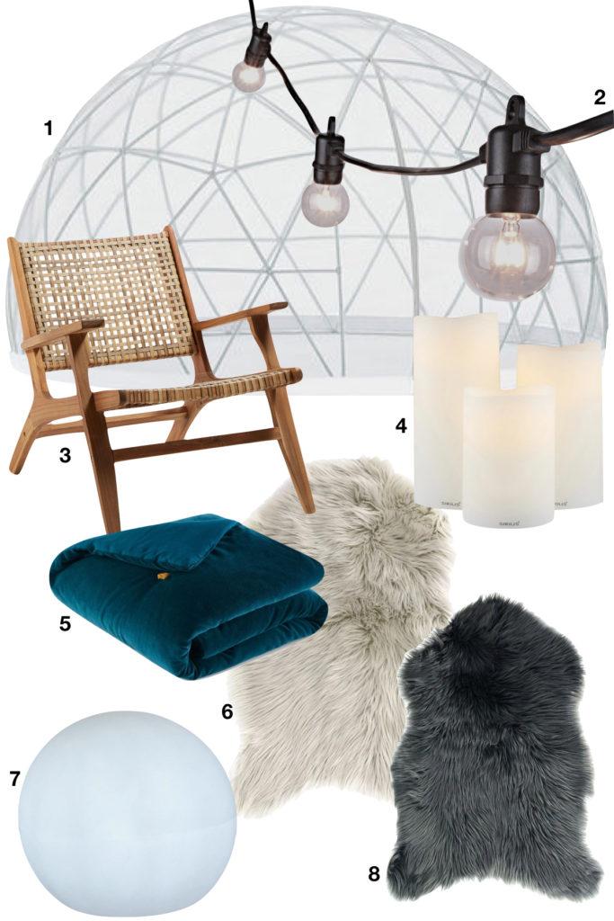 shopping liste tendance déco garden igloo guirlande guingette fourrure chaise - clematc