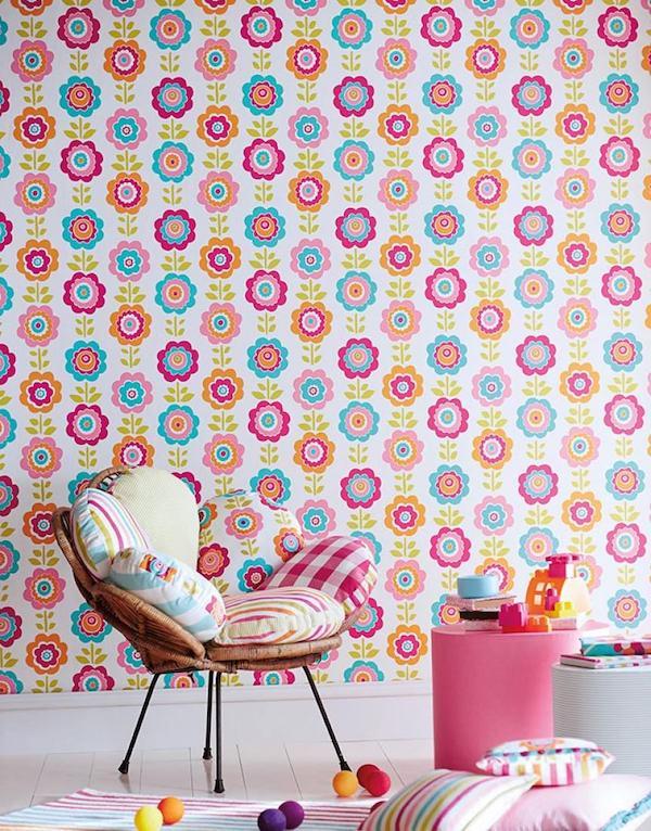 chambre enfant papier peint des années 70 multicolore pop dessin fleur