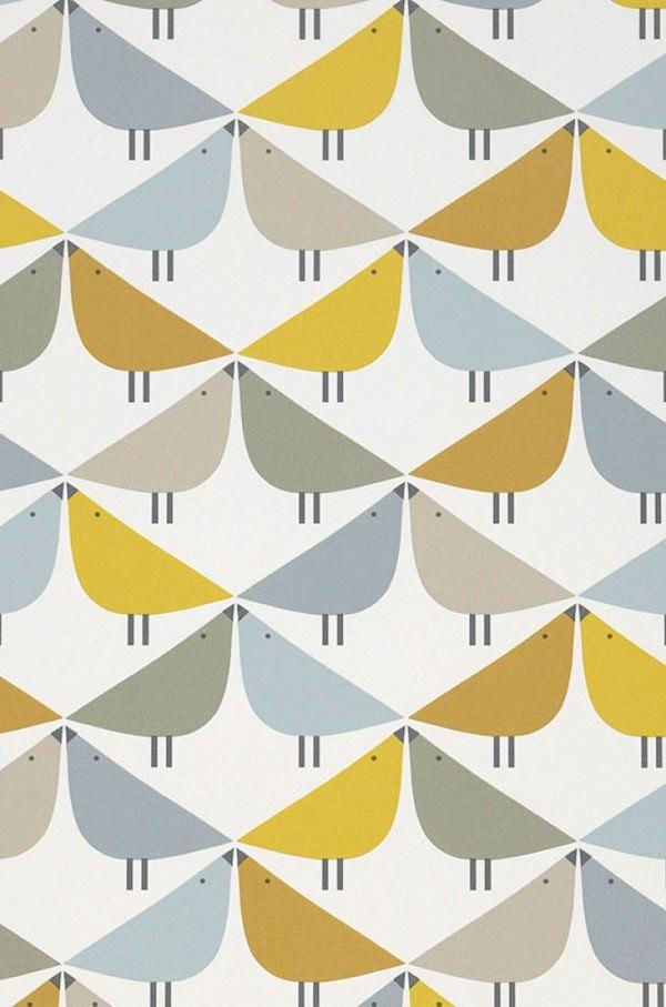 tapisserie douce couleur scandinave géométrique oiseau chambre enfant bébé