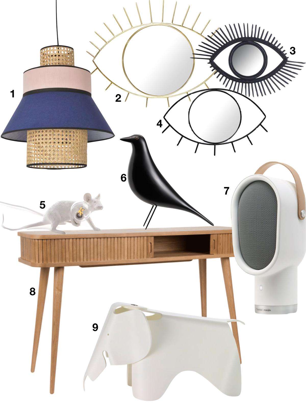 shopping liste suspension rotin miroir oeil console harto eames oiseau éléphant enceinte habitat - blog clematc