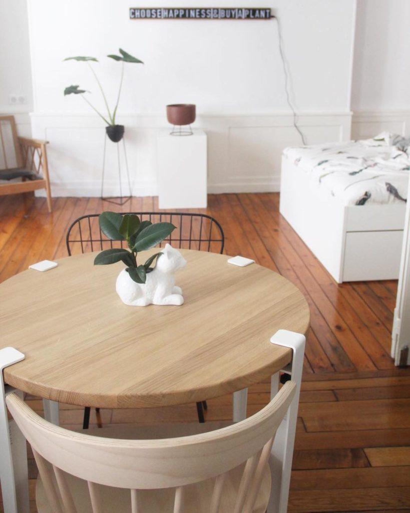 salle à manger pieds tiptoe chat pot de fleur - blog déco - clematc