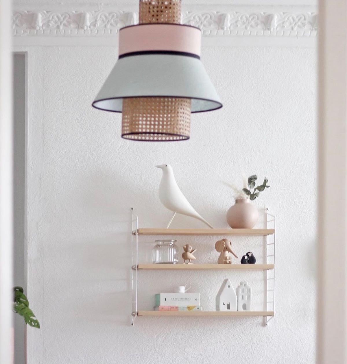 suspension rotin étagère bois métal blanc oiseau eames - clemaroundthecorner
