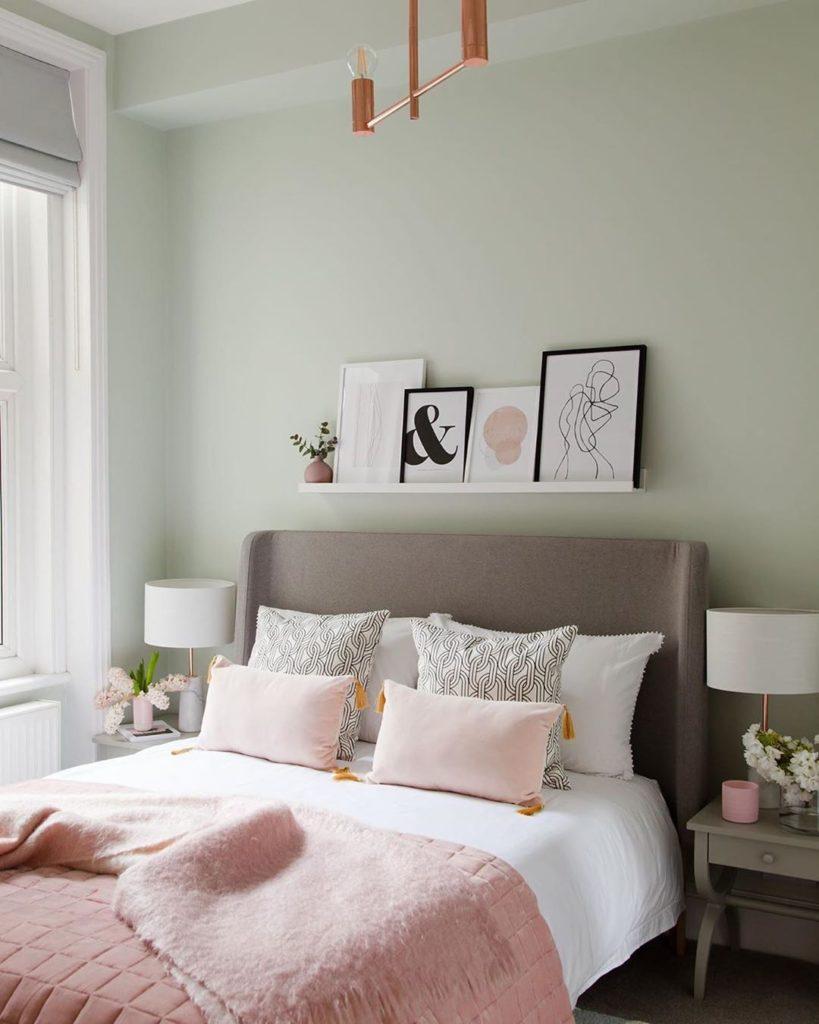 chambre rose poudré pastel vert de gris mint - blog déco - clem around the corner