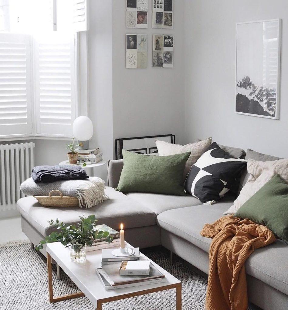 salon scandinave canapé gris angle design pas cher déco nordique