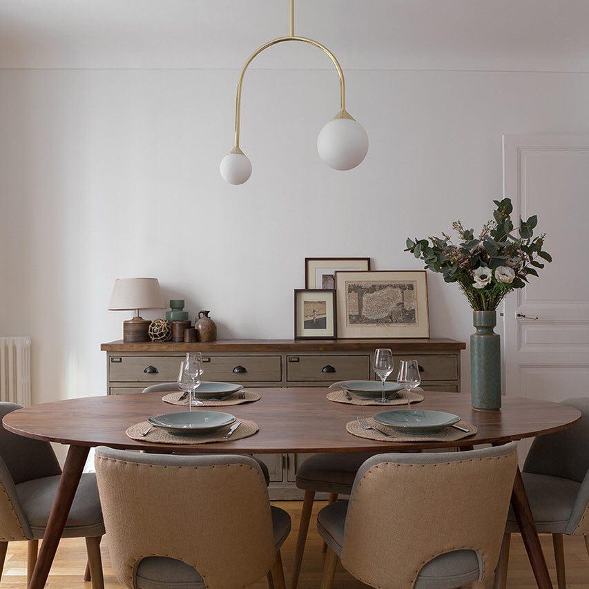 salle à manger rétro vintage récup upcycling meuble métier atelier vert de gris