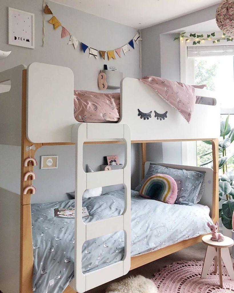 lit superposé enfant design bois blanc scandinave pas cher
