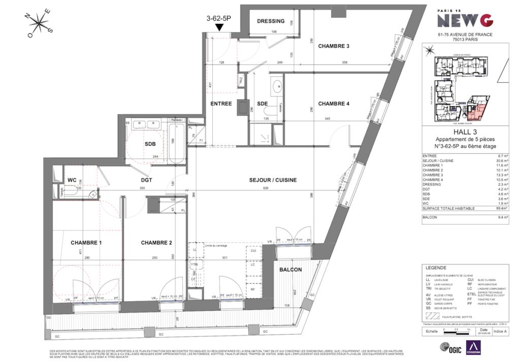 plan 2D appartement 5 pièces vente logement état futur achèvement - clematc