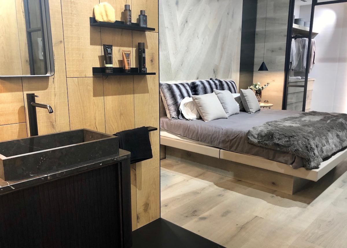 suite parentale salle de bain ouverte dressing verrière bois chic porcelanosa