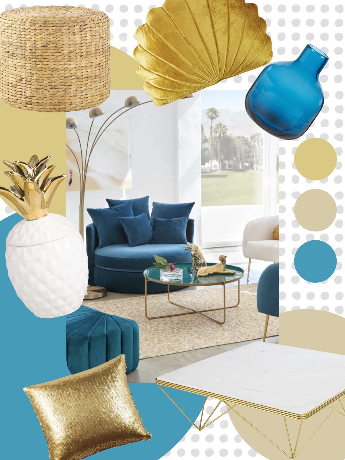 maisons du monde vase bleu coussin coquillage or salon canapé rond pouf jonc de mer - blog déco - clematc