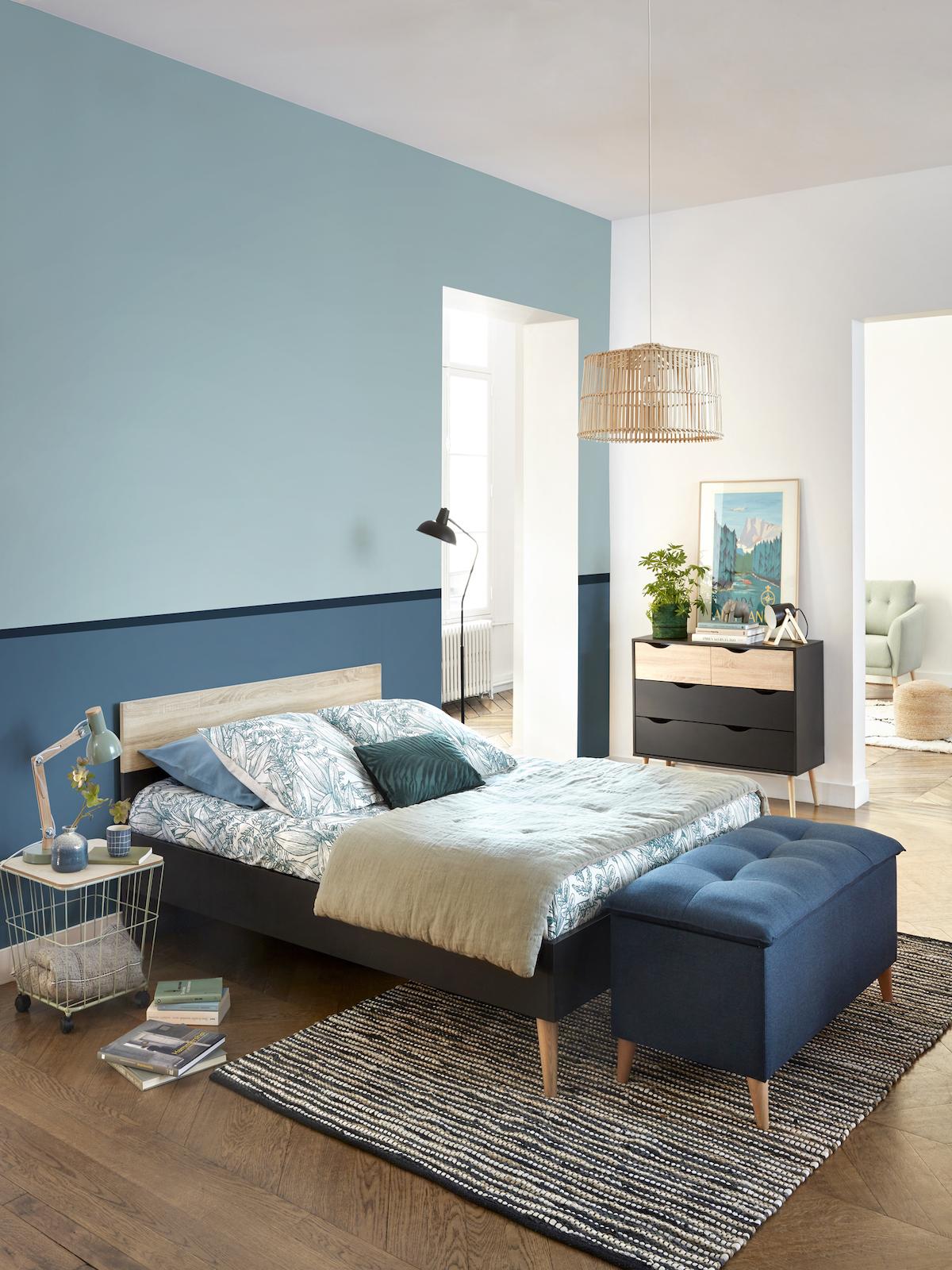 chambre ado garcon design bleu mur bicolore deco moderne