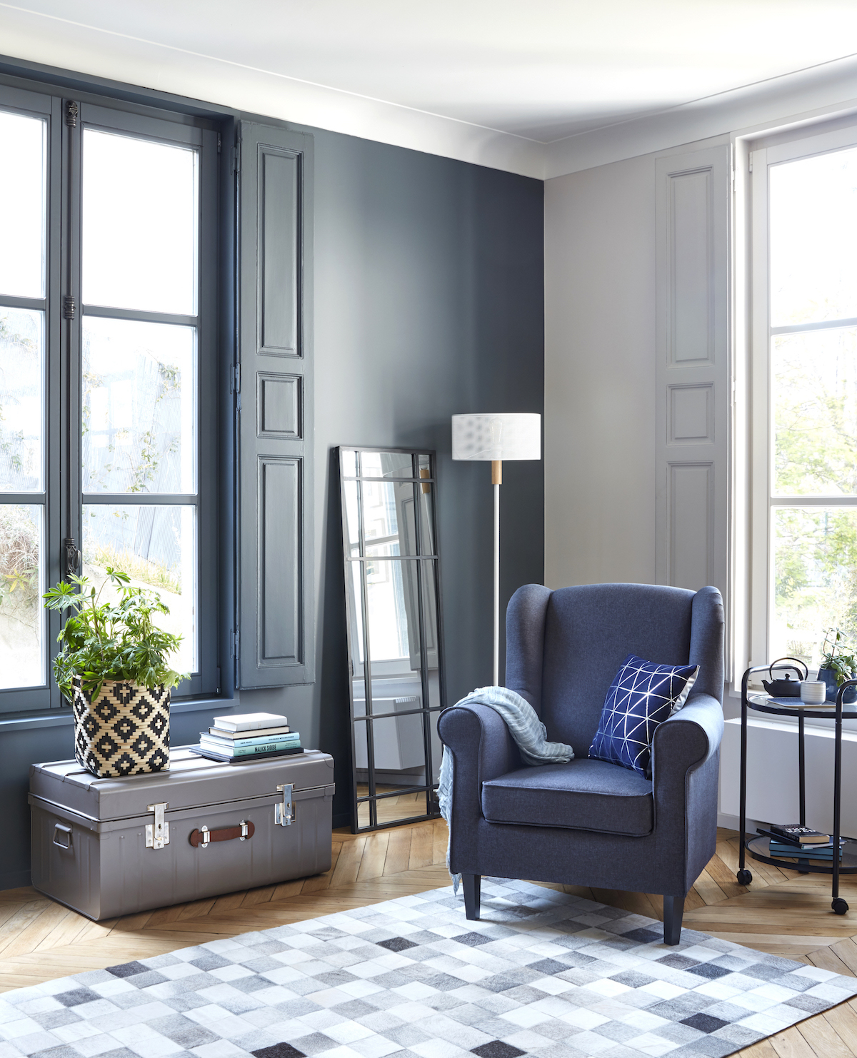 salon mur bleu hague blue cocon nouvelle collection but