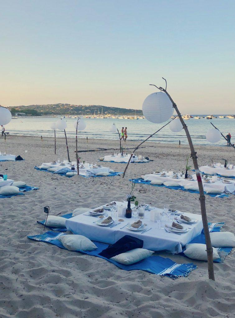 mariage sur la plage Corse pinarello diner sable palette