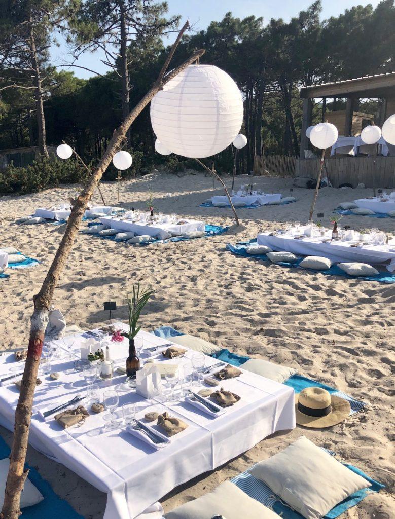 décoration table mariage plage corse porto vecchio