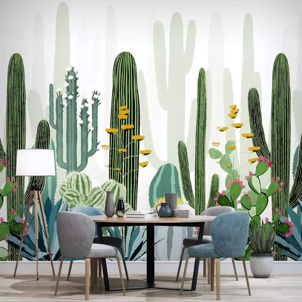 salon salle à manger exotique style urban jungle papier peint cactus