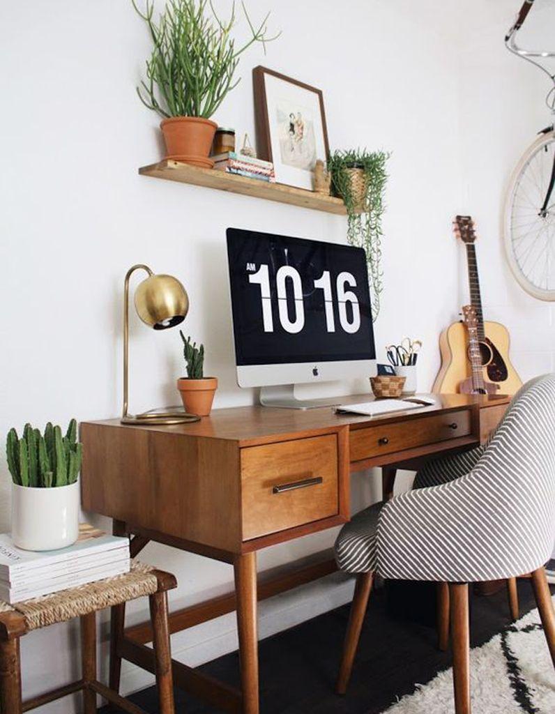 bureau cactus table marron bois massif chaise scandinave - blog déco