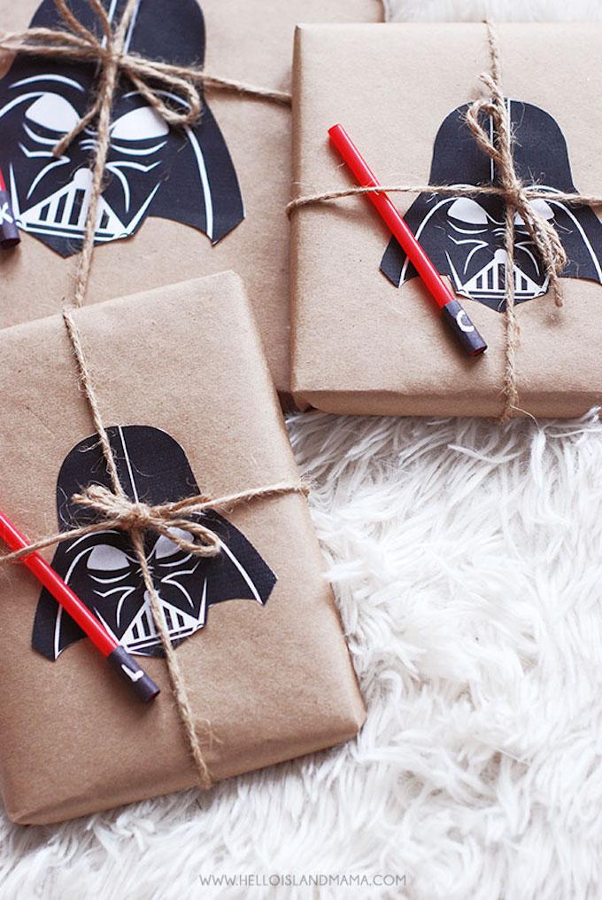 anniversaire thème star wars idée emballage cadeau original dark vador - blog déco - clem around the corner