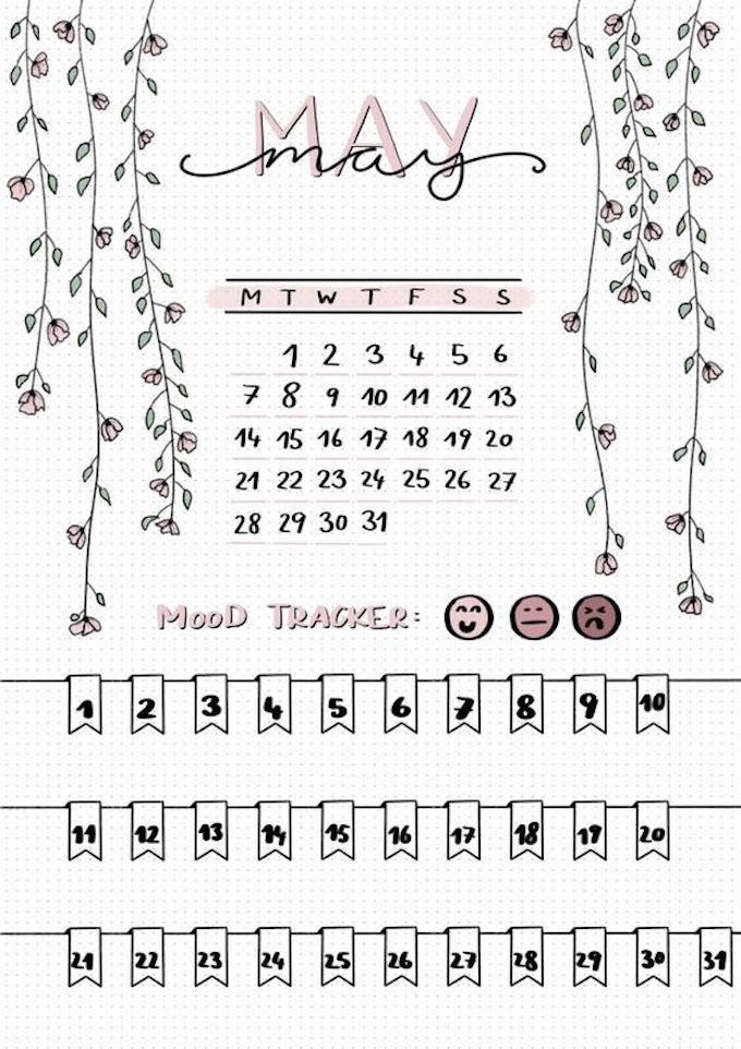 page mensuelle bujo mood tracker santé calendrier original
