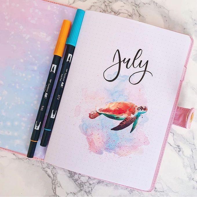 comment faire un bullet journal page d'accueil aquarelle dessin couleurs diy création - blog déco - clem around the corner