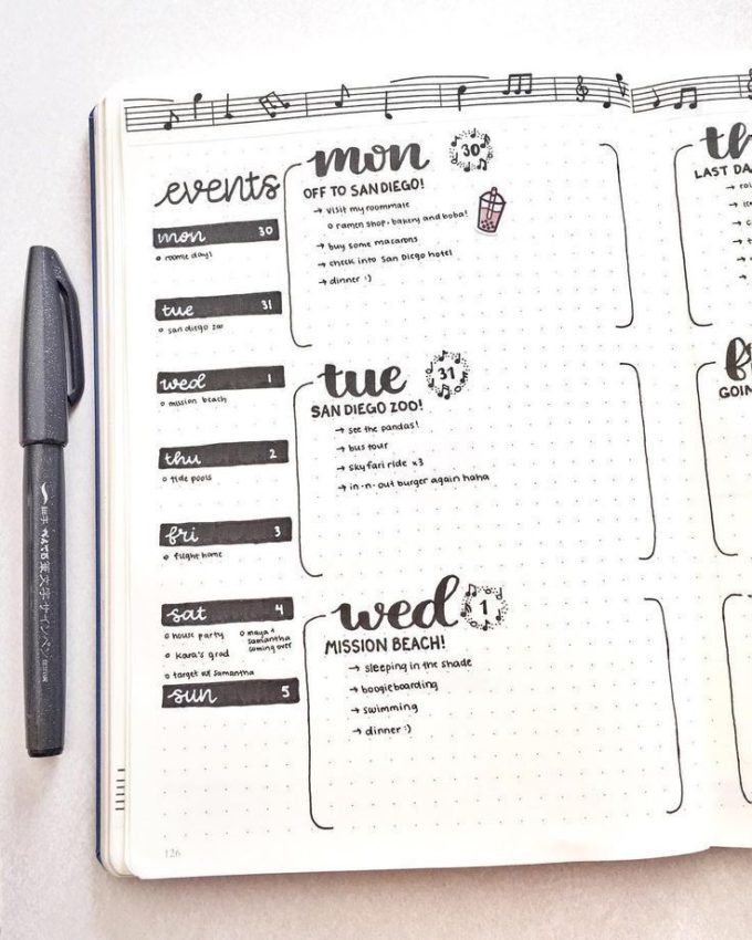 comment faire un bullet journal tracker planning noir et blanc stylos feutres crayons - blog déco - clem around the corner