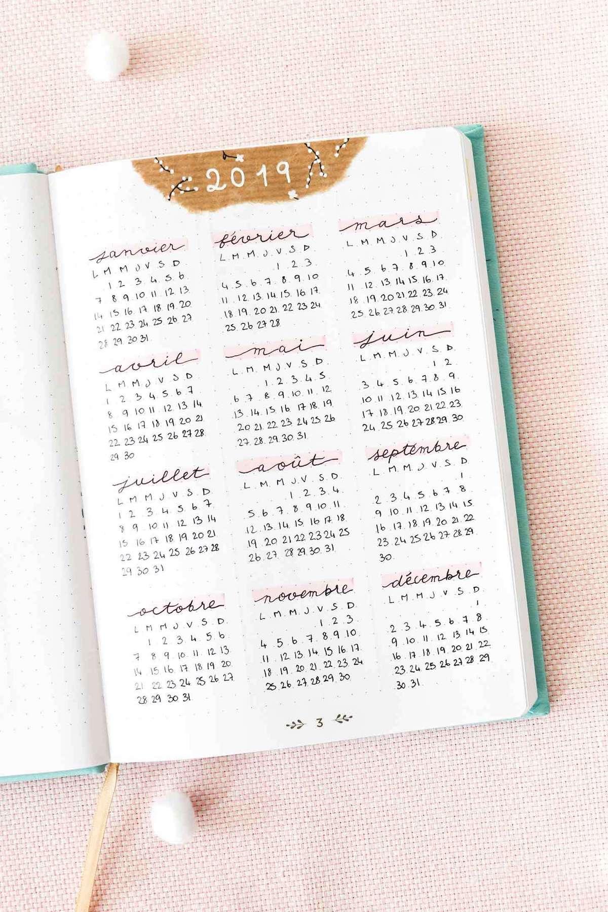 comment faire un bullet journal planning annuel idée calligraphie astuce organisation - blog déco - clem around the corner