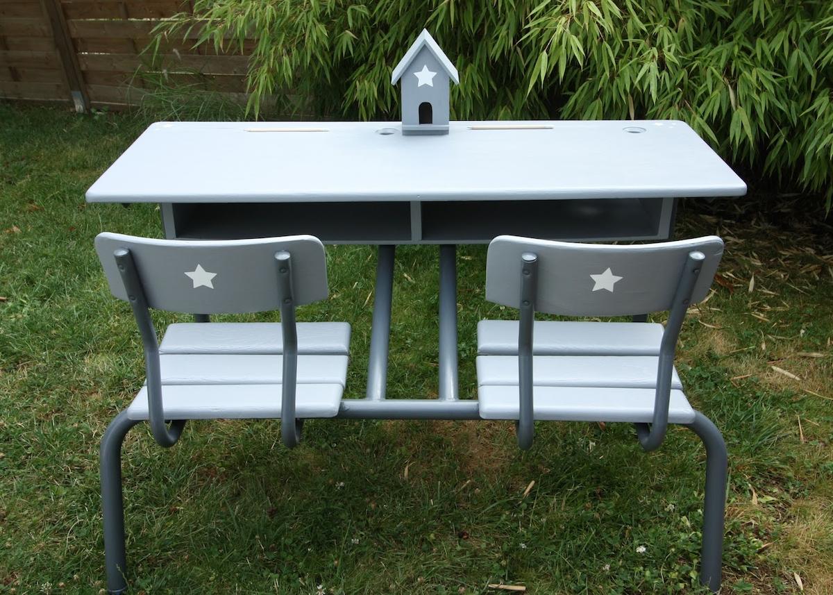 bureau écolier relooké rénover meuble relooking table bois - blog déco - clem around the corner