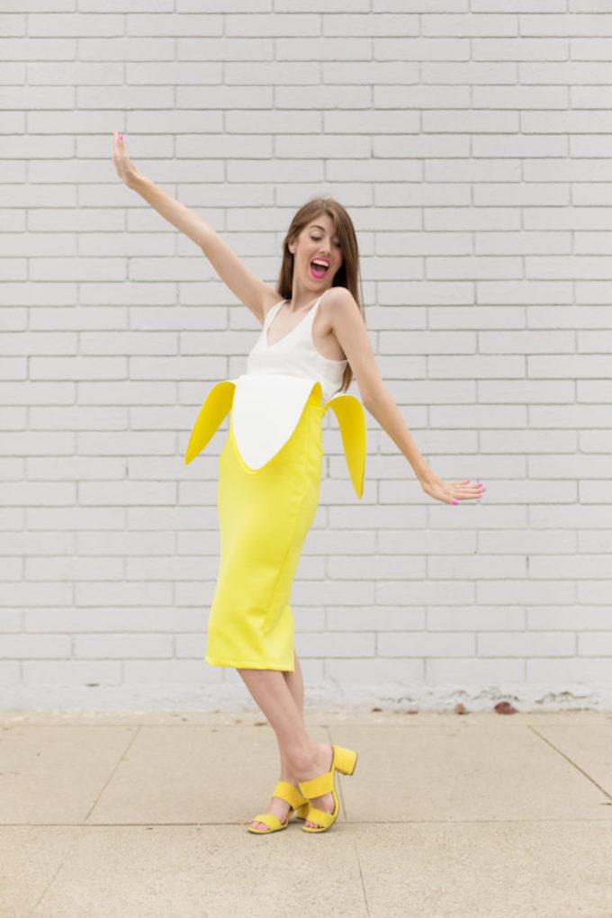 déguisement diy habit banane jaune blanc femme homme à faire soi-même rapide simple peu couteux - blog déco diy