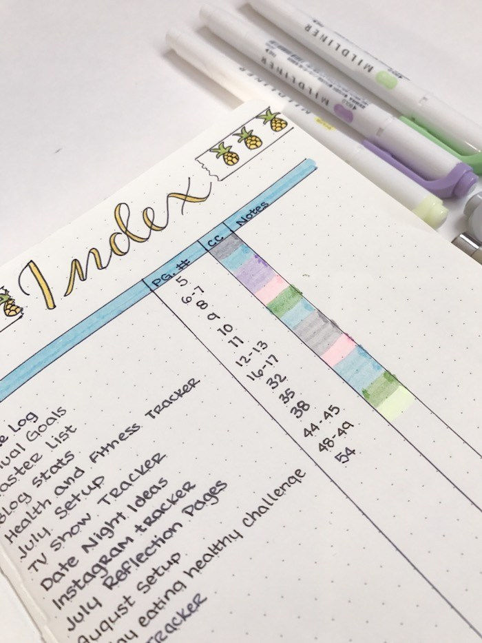 index planner idée bujo carnet couleur écriture calligraphie organisation planning