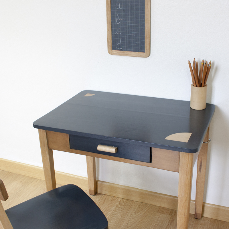 meuble ancien vintage bois gris pot à crayons ardoise