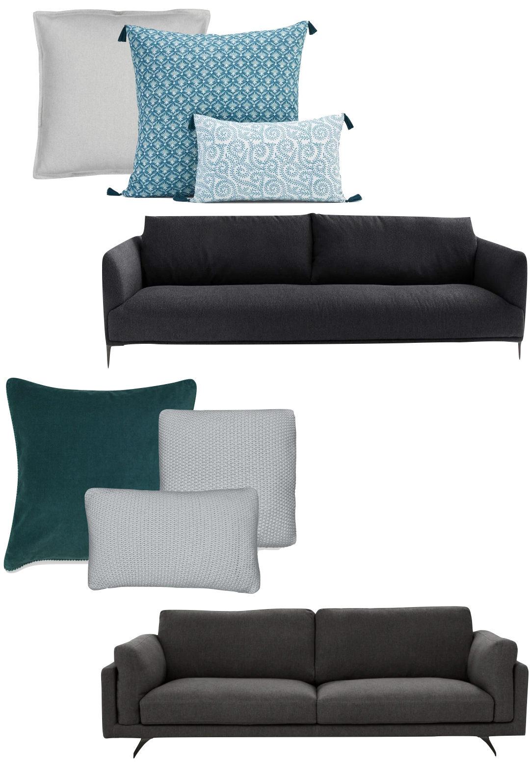 comment choisir ses coussins d'intérieur canapé gris assortiment bleu vert canard