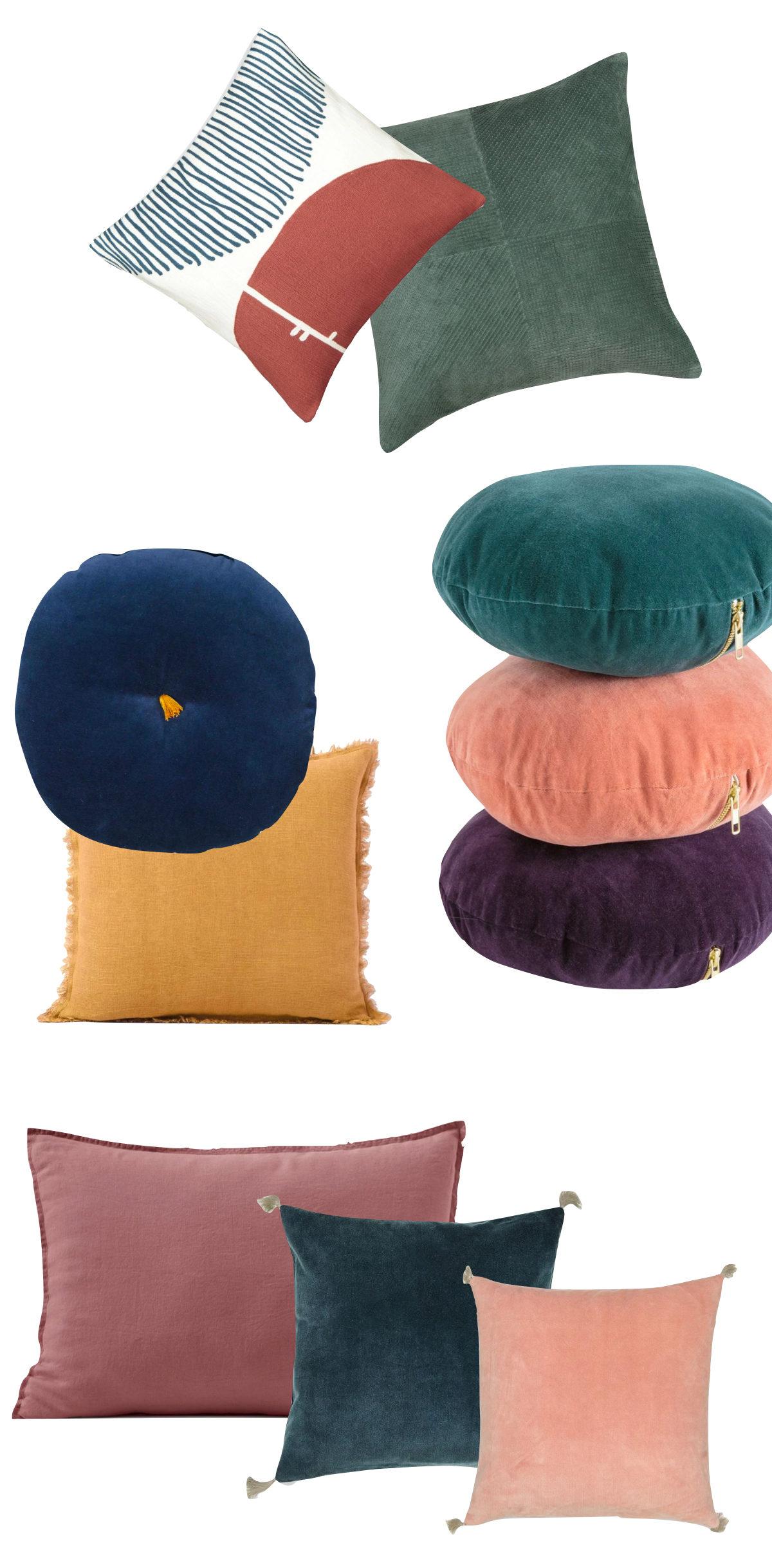 comment choisir ses coussins d'intérieur assortiment harmonie couleur - blog déco - clem around the corner