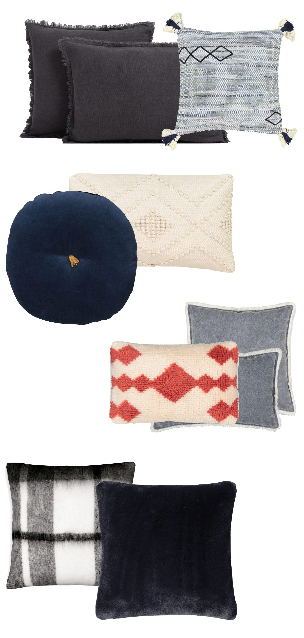 comment choisir ses coussins d'intérieur assortiment harmonie mélange matière velours tissu laine - blog déco - clem around the corner