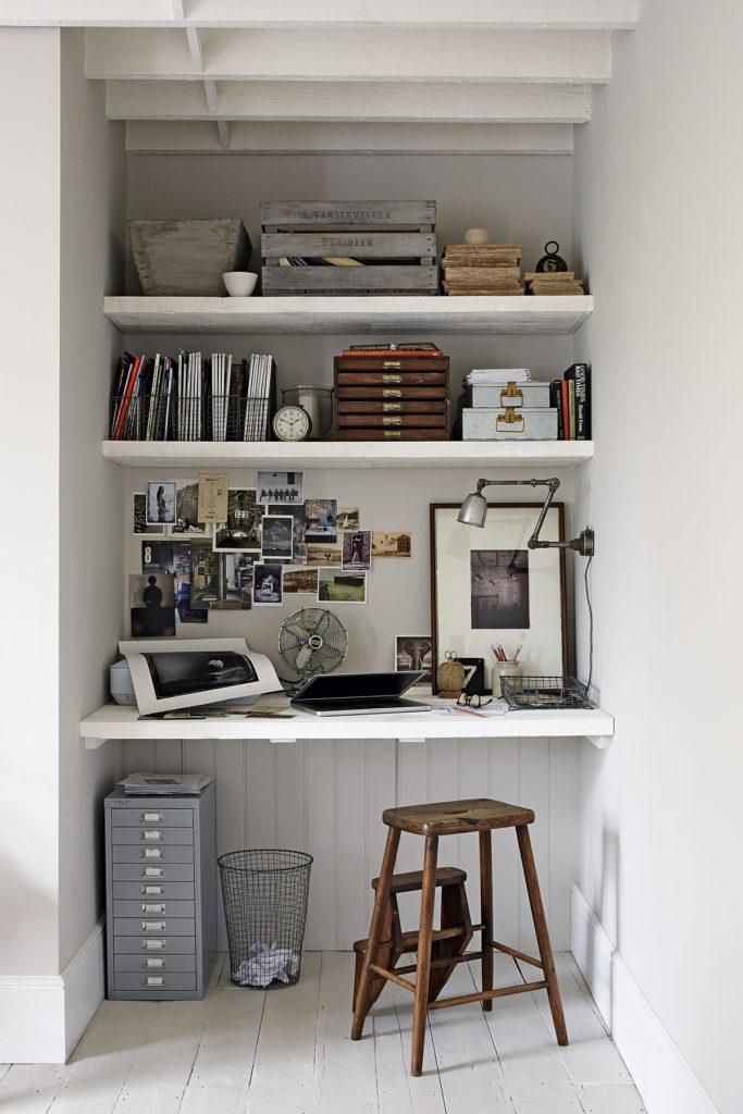 coin bureau salon déco mélange rustique moderne vintage - blog clematc