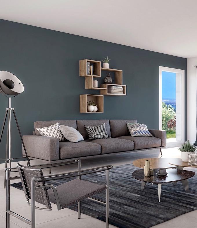 salon mur gris vert fumé smoked green farrow and ball déco moderne bois vert canard poudré