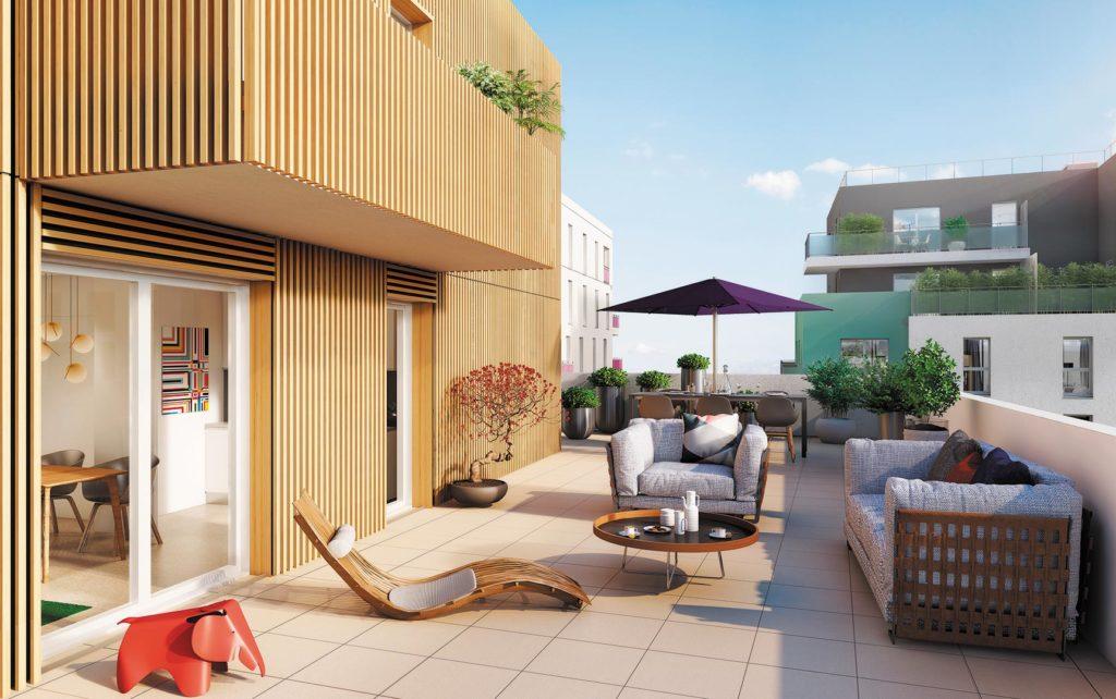 immobilier neuf terrasse paris appartement loft romainville tabouret vitra éléphant rouge