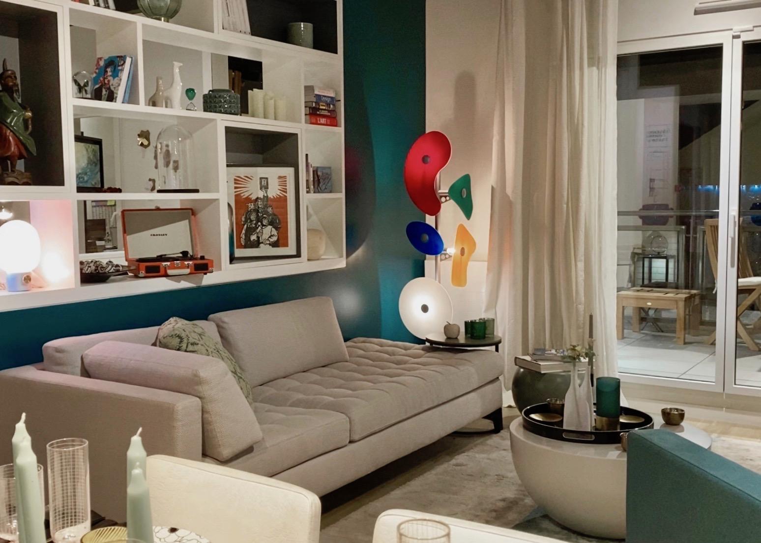 store cogedim idée ameublement salon peinture bleu turquoise canard - blog déco - clem around the corner