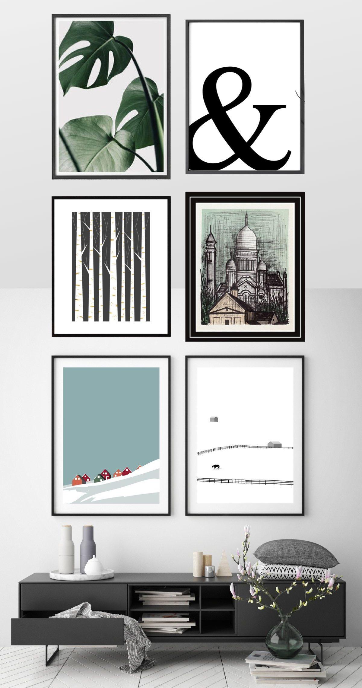 mur de cadres arty etsy tendance lithographie bernard buffet salon gris noir blanc