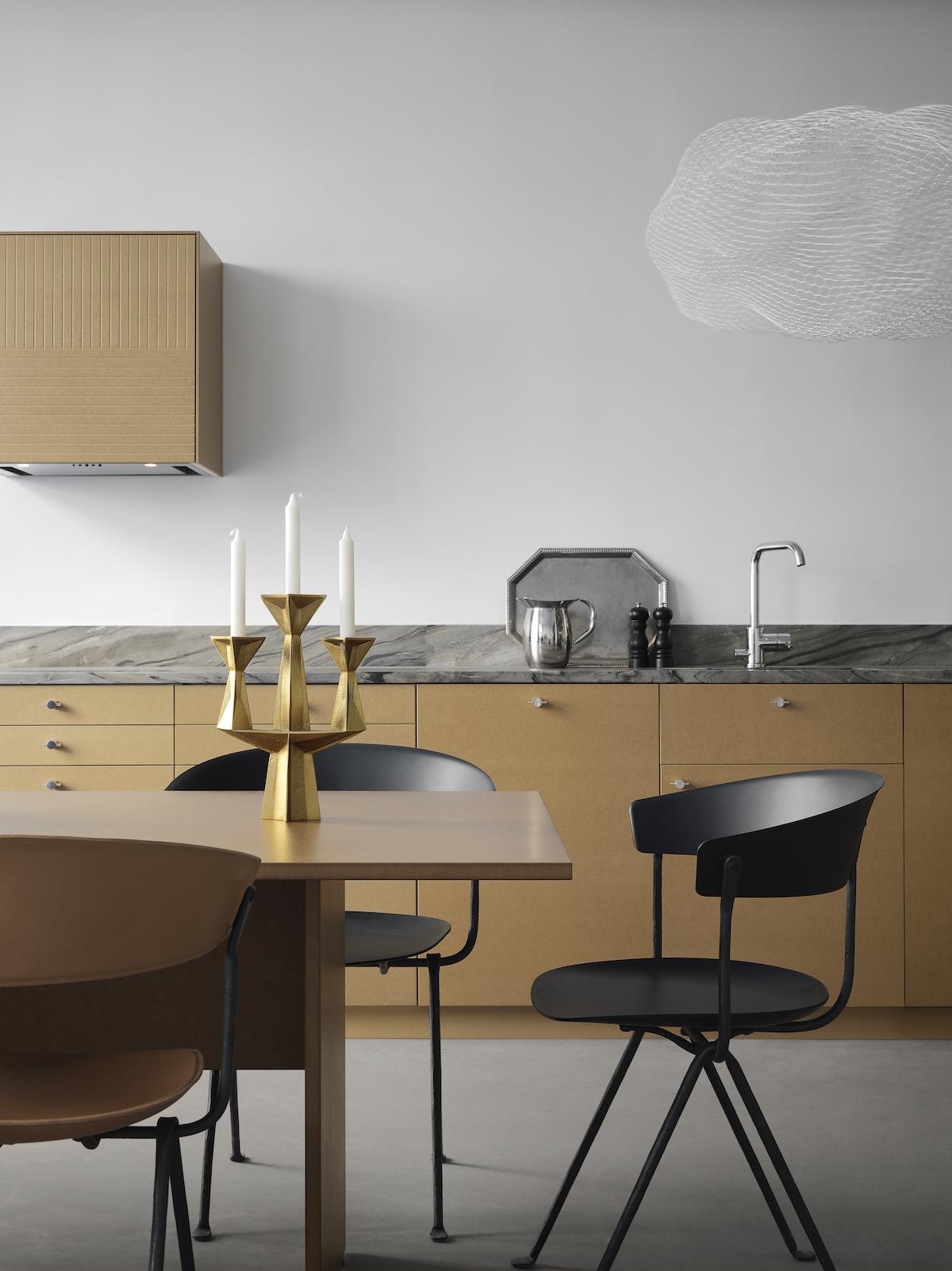 cuisine art déco moderne retro minimaliste masculine noir mat suspension lampe nuage grillage