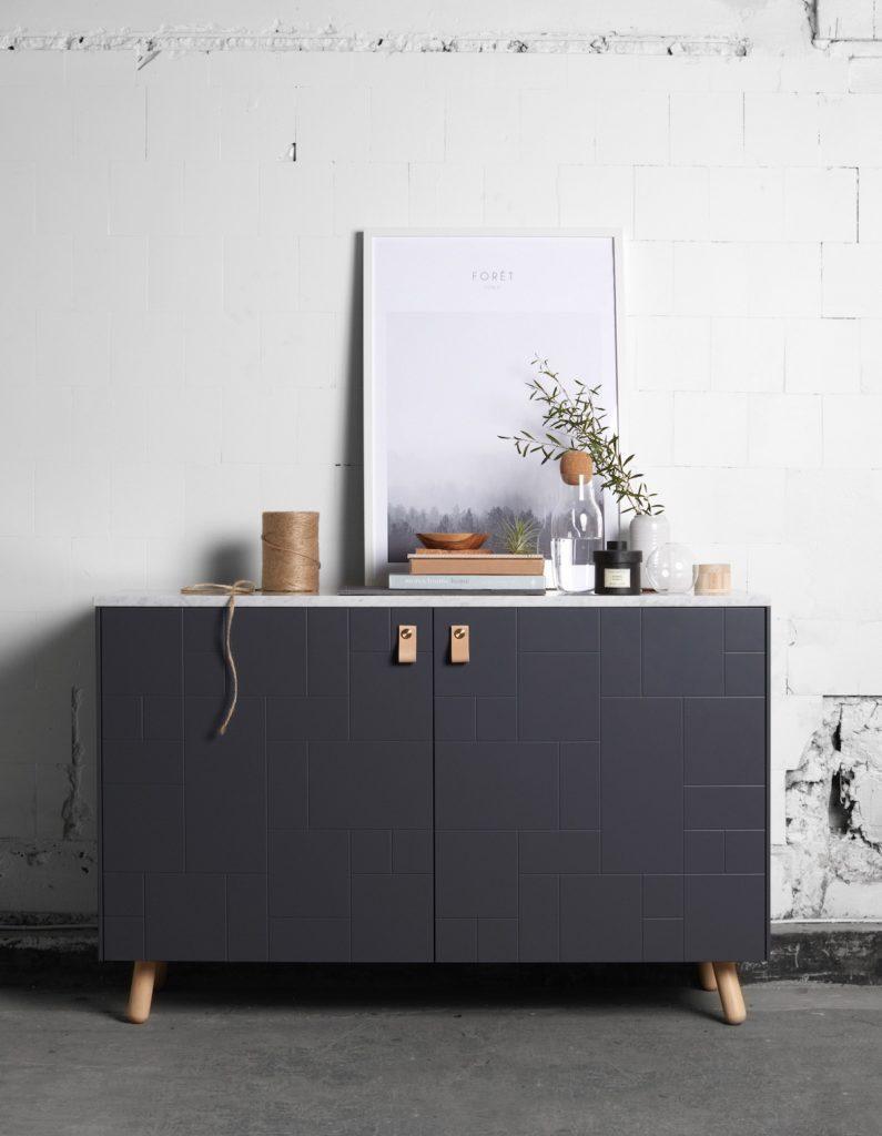 Superfront buffet gris design scandinave poignée cuir - blog décoration intérieure - clem around the corner