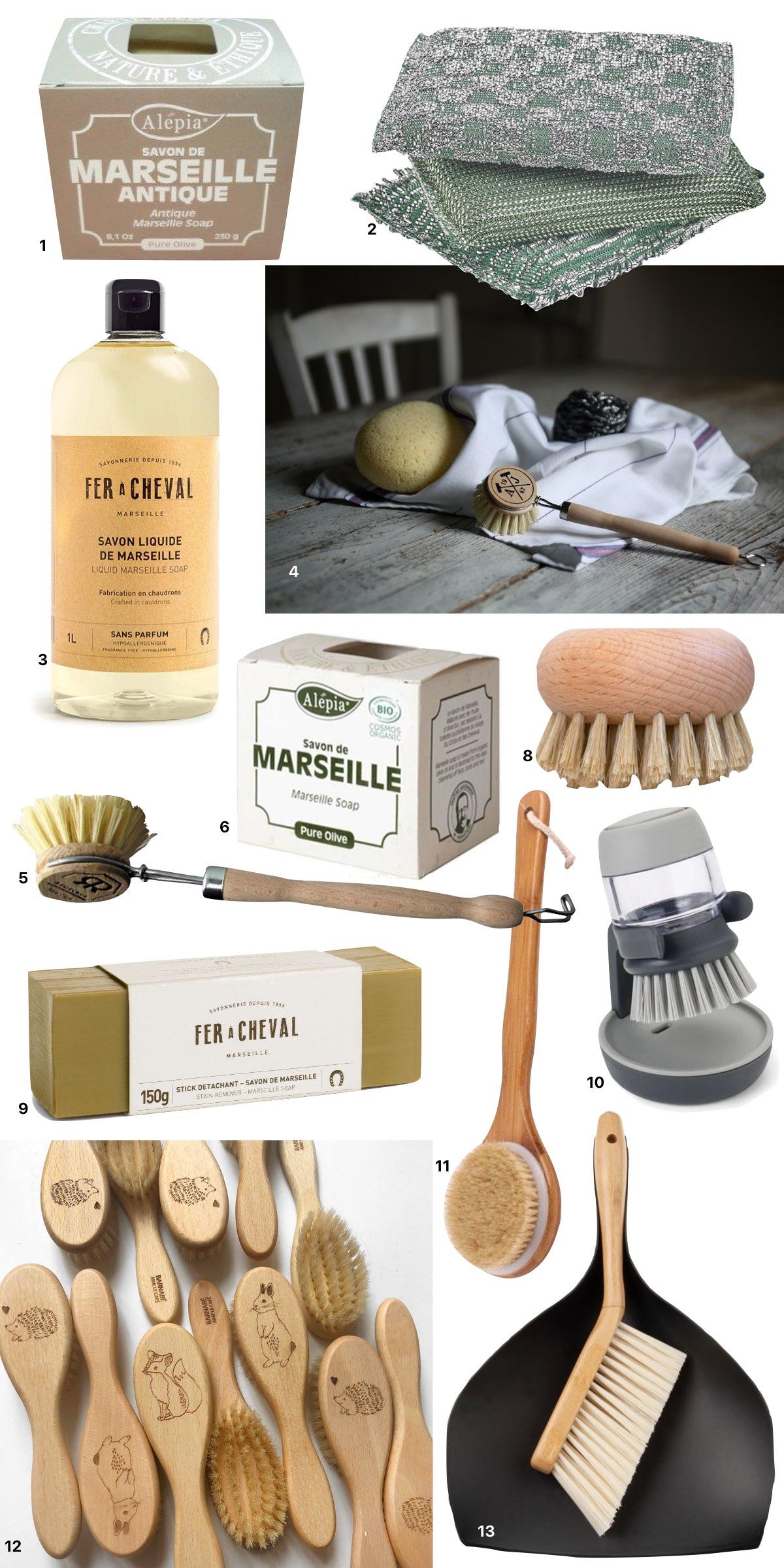 accessoire entretien maison écolo écoresponsable brosse bambou vintage retro vaisselle douche