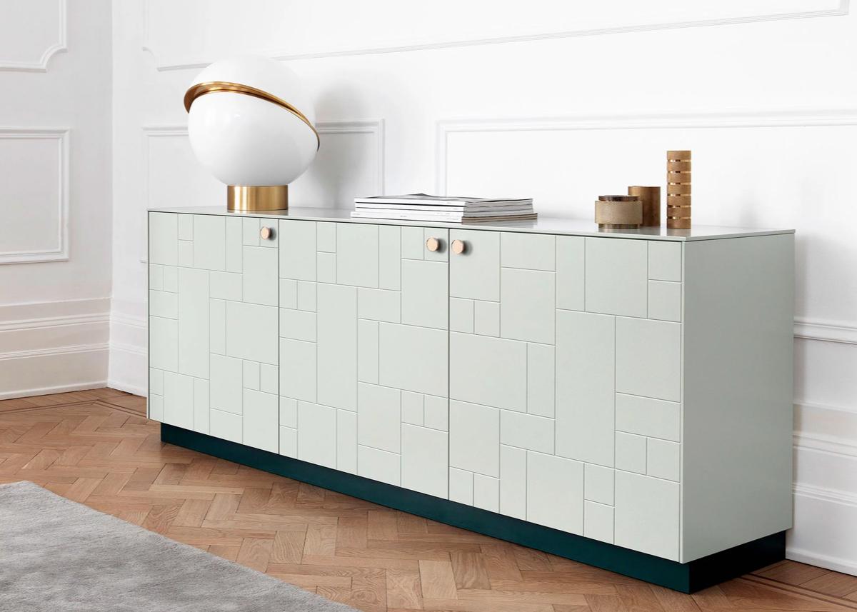 superfront ikea hack avis meuble vert de gris art déco motif rectangle poignée laiton - blog clematc