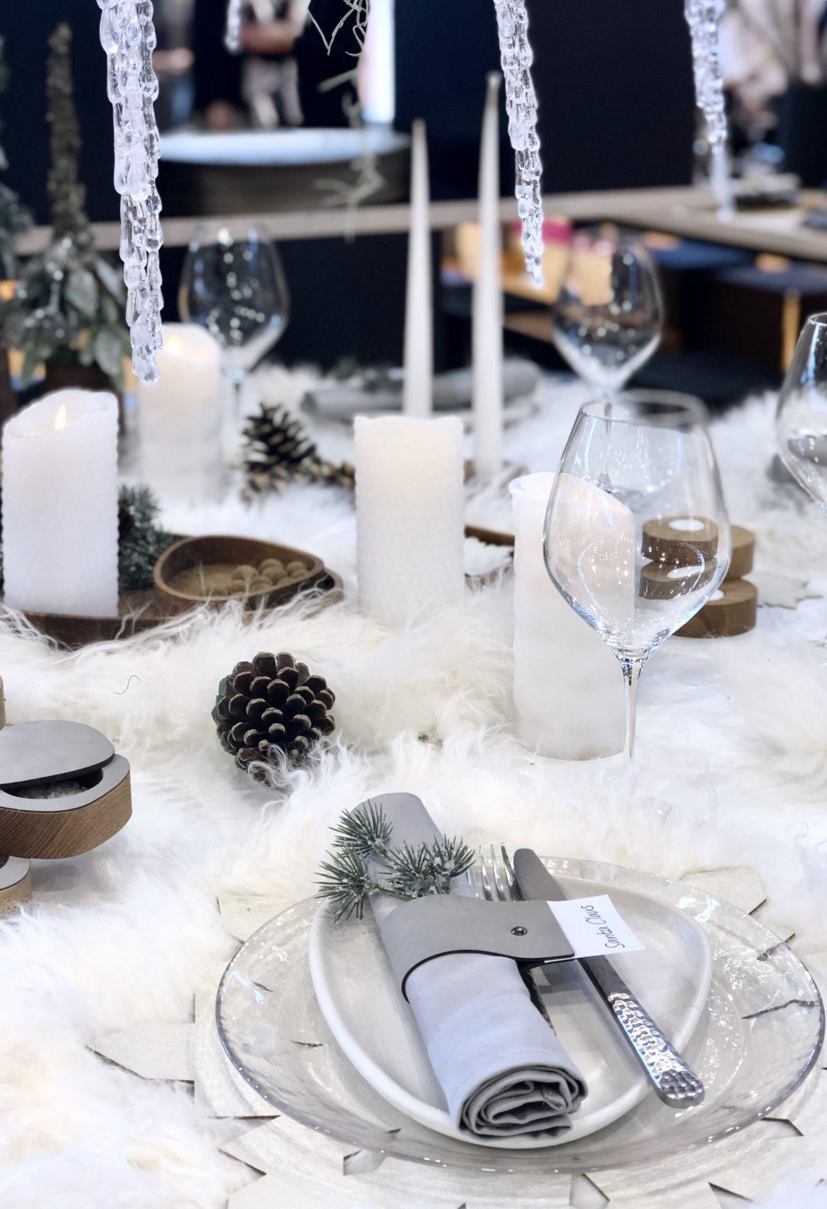 table diner réveillon noel neige fausse fourrure salon maison et objet septembre 2019 clemaroundthecorner