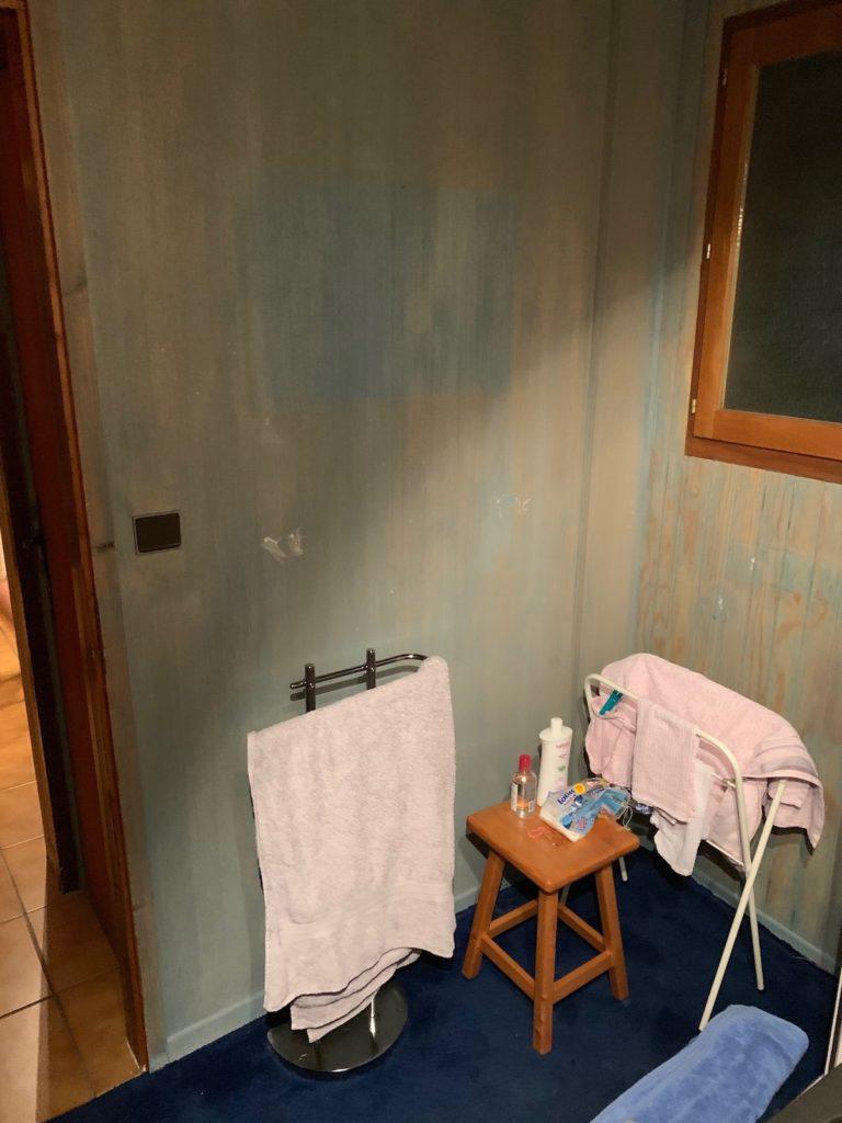 avant après rénovation salle de bain chalet moquette bleue mal agencé
