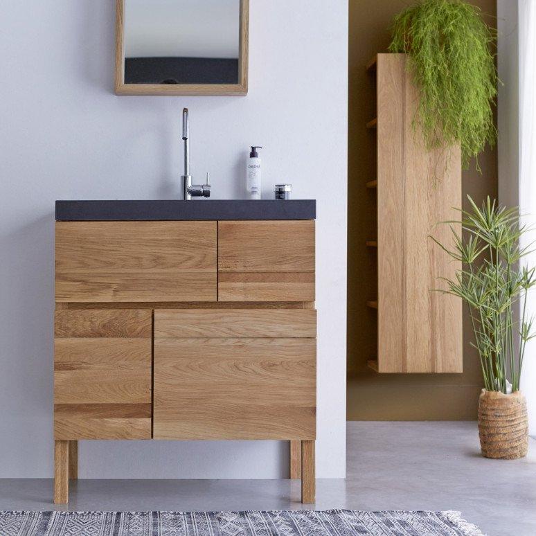 meuble salle de bain chalet chêne pierre de lave vasque design moderne