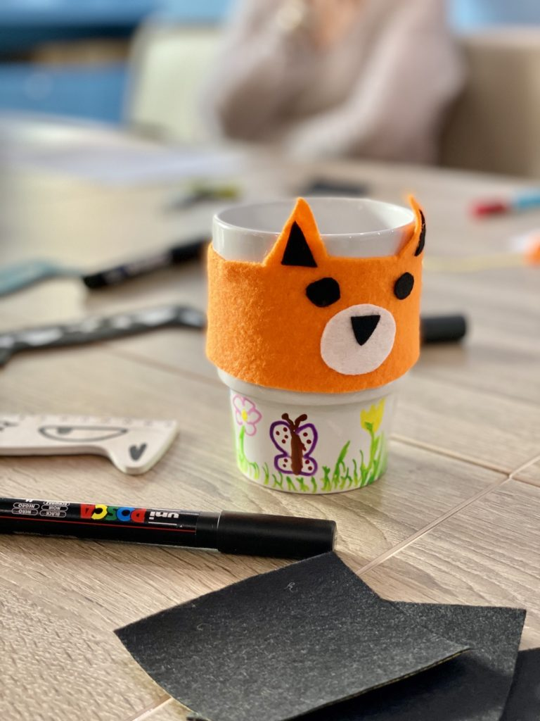mug cosy renard chauffe tasse idée bricolage fête des pères