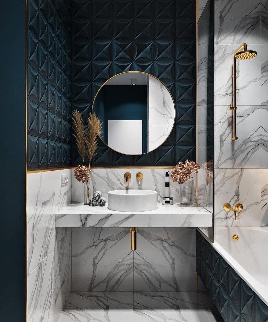 salle de bain marbre blanc bleu déco moderne clematc