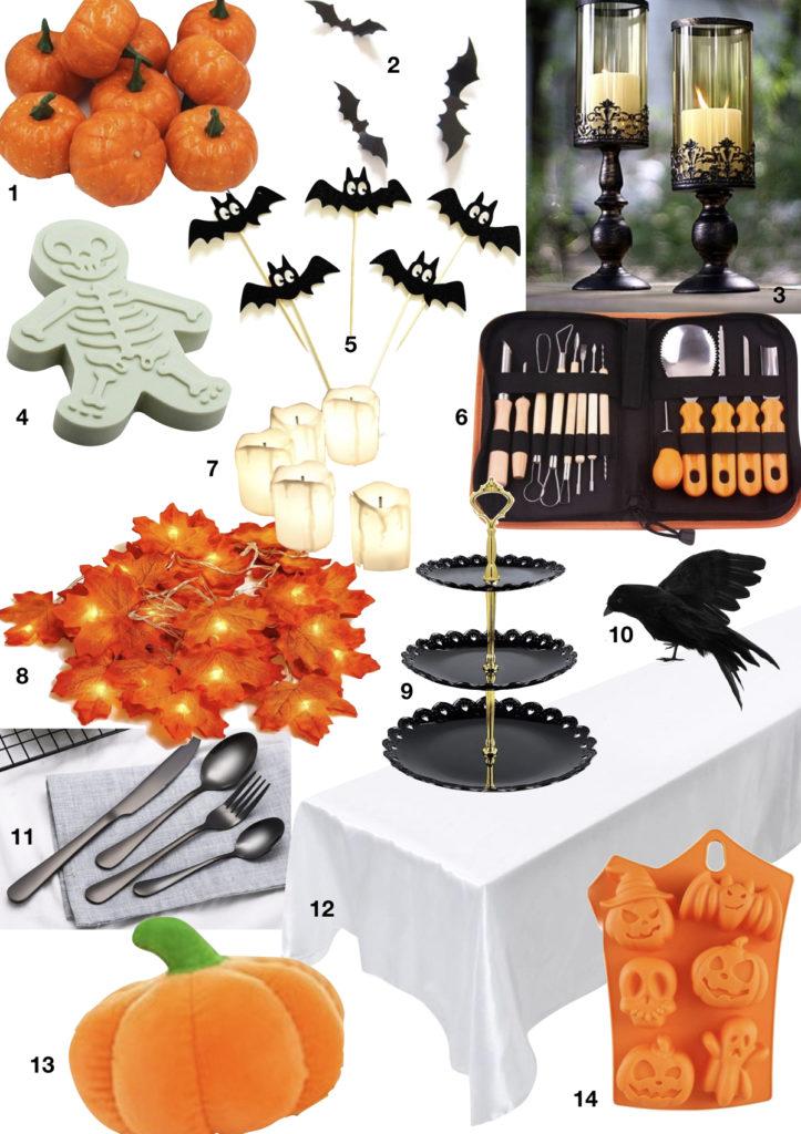 shopping liste wish nappe emporte pièce chandelier citrouille couvert corbeau guirlande lumineuse feuille - blog déco - clematc