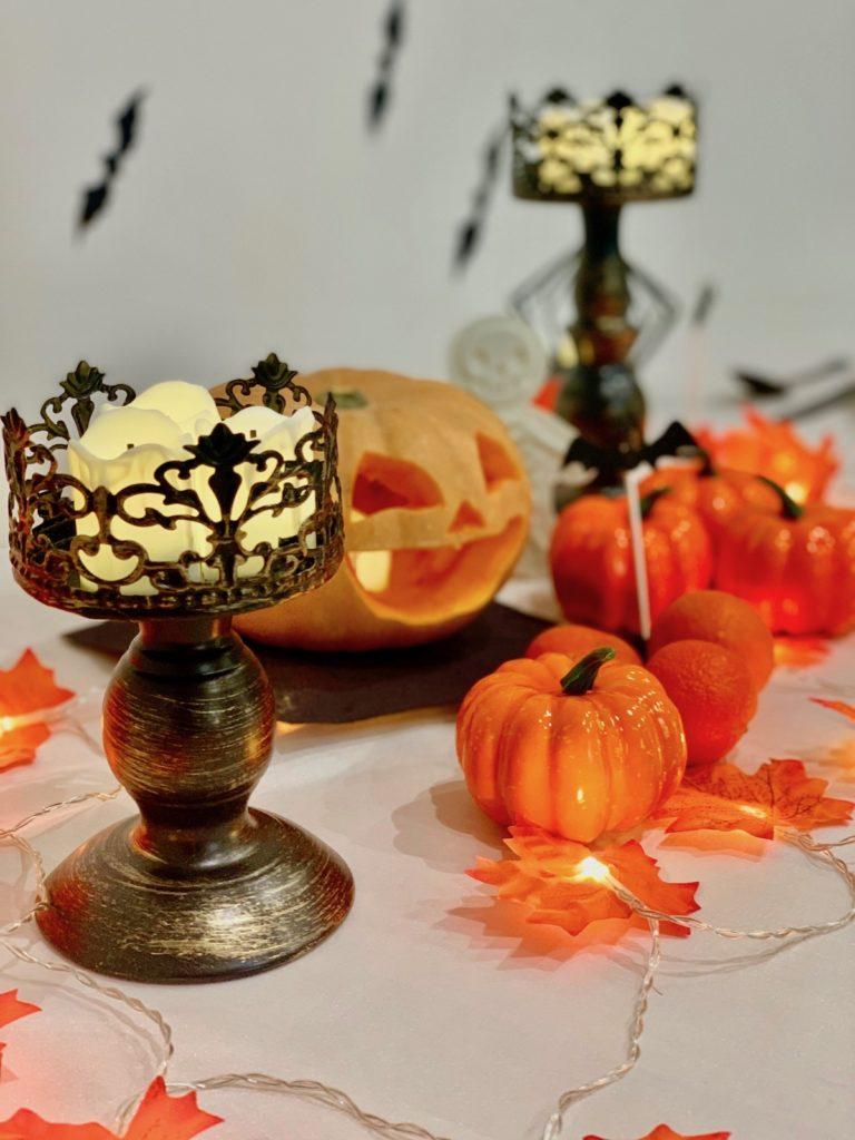 bougie à pile chandelier fête halloween tendance déco black orange citrouille guirlande lumineuse clemaroundthecorner