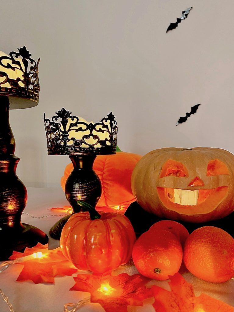 déco table halloween chandelier noir décoration murale chauves souris bougie candle clémentine automne fête - clematc